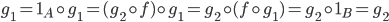 {g_1 = 1_A\circ g_1 = (g_2\circ f)\circ g_1 = g_2\circ (f\circ g_1) = g_2\circ 1_B = g_2}