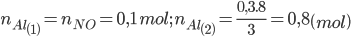 {n_{Al\left( 1 \right)}} = {n_{NO}} = 0,1\,mol;\,\,{n_{Al\left( 2 \right)}} = {{0,3.8} \over 3} = 0,8\left( {mol} \right)