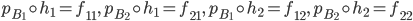 {p_{B_1}\circ h_1 = f_{11},\, p_{B_2}\circ h_1 = f_{21},\, p_{B_1}\circ h_2 = f_{12},\, p_{B_2}\circ h_2 = f_{22}}