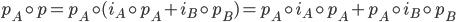{p_A\circ p = p_A\circ (i_A\circ p_A + i_B\circ p_B) = p_A\circ i_A\circ p_A + p_A\circ i_B\circ p_B}