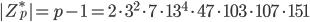 |Z_p^*| = p-1 = 2 \cdot 3^2 \cdot 7 \cdot 13^4 \cdot 47 \cdot 103 \cdot 107 \cdot 151