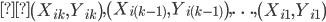 \displaystyle \left(X_{ik}, Y_{ik} \right), \left(X_{i(k-1)}, Y_{i(k-1)} \right),\ldots, \left(X_{i1}, Y_{i1} \right)