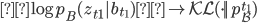 \log p_B(z_{t1} | b_{t_1}) \to \mathcal {KL} (\cdot || p_B^{t_1})