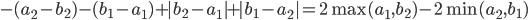 -(a_2-b_2)-(b_1-a_1)+|b_2-a_1|+|b_1-a_2|=2\max(a_1,b_2)-2\min(a_2,b_1)