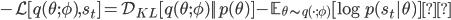 -\mathcal{L}[q(\theta;\phi),\mathcal{s_t}] = \mathcal{D}_{KL} [q(\theta;\phi) || p(\theta) ] - \mathbb{E}_{\theta \sim q(\cdot;\phi)} [\log p(\mathcal{s_t}|\theta) ]