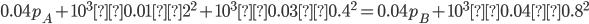 0.04p_A+10^3×0.01×2^2+10^3×0.03×0.4^2=0.04p_B+10^3×0.04×0.8^2