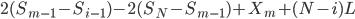 2(S_{m-1}-S_{i-1})- 2(S_N-S_{m-1}) + X_m + (N-i)L