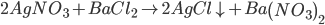 2AgN{O_3} + BaC{l_2} \to 2AgCl \downarrow + Ba{\left( {N{O_3}} \right)_2}