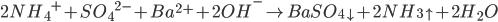 2N{H_4}^ + + S{O_4}^{2 - } + B{a^{2 + }} + 2O{H^ - } \to BaS{O_{4 \downarrow }} + 2N{H_{3 \uparrow }} + 2{H_2}O