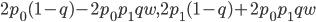 2p_0(1-q)-2p_0p_1qw,2p_1(1-q)+2p_0p_1qw