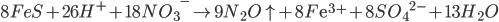 8FeS + 26{H^ + } + 18N{O_3}^ - \to 9{N_2}O \uparrow + 8F{{\rm{e}}^{3 + }} + 8S{O_4}^{2 - } + 13{H_2}O