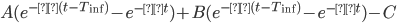 A( e^{-α(t - T_{\rm inf})}- e^{-αt}) + B( e^{-β(t - T_{\rm inf})} - e^{-βt}) - C