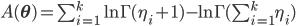 A(\mathbf{\theta}) = \sum_{i=1}^k \ln{\Gamma(\eta_i+1)} - \ln{\Gamma(\sum_{i=1}^k \eta_i)}