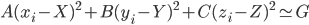 A(x_i-X)^2+B(y_i-Y)^2+C(z_i-Z)^2 \simeq G