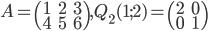 A=\begin{pmatrix}1&2&3\\4&5&6\end{pmatrix}, Q_2(1;2)=\begin{pmatrix}2&0\\0&1\end{pmatrix}