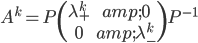 A^{k}=P\begin{pmatrix} \lambda_{+}^{k} & 0 \\ 0 & \lambda_{-}^{k}\end{pmatrix} P^{-1}