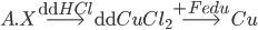 A.X\buildrel {{\rm{dd}}HCl} \over\longrightarrow {\rm{dd}}CuC{l_2}\buildrel { + Fedu} \over\longrightarrow Cu