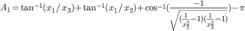 A_1 = \tan^{-1}(x_1/x_3)+\tan^{-1}(x_1/x_2) + \cos^{-1}(\frac{-1}{\sqrt{(\frac{1}{x_2^2}-1)(\frac{1}{x_3^2}-1)}})-\pi