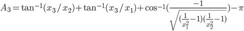 A_3 = \tan^{-1}(x_3/x_2)+\tan^{-1}(x_3/x_1) + \cos^{-1}(\frac{-1}{\sqrt{(\frac{1}{x_1^2}-1)(\frac{1}{x_2^2}-1)}})-\pi