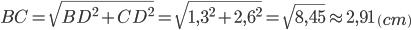 BC=\sqrt{BD^2+CD^2}=\sqrt{1,3^2+2,6^2}=\sqrt{8,45}\approx2,91\ \left(cm\right)