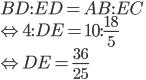 BD:ED=AB:EC\\ \Leftrightarrow 4:DE=10:\frac{18}{5}\\ \Leftrightarrow DE=\displaystyle \frac{36}{25}