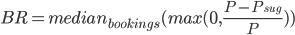 BR=median_{bookings}(max(0,\frac{P - P_{sug}}{P}))
