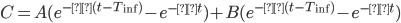 C = A( e^{-α(t - T_{\rm inf})}- e^{-αt}) + B( e^{-β(t - T_{\rm inf})} - e^{-βt})