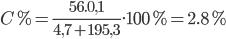 C\% = {{56.0,1} \over {4,7 + 195,3}}.100\% = 2.8\%