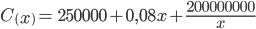 C\left(x\right)=\ 250000+0,08x+\frac{200000000}{x}