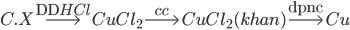 C.X\buildrel {{\rm{DD}}HCl} \over\longrightarrow CuC{l_2}\buildrel {cc} \over\longrightarrow CuC{l_2}(khan)\buildrel {{\rm{dpnc}}} \over\longrightarrow Cu