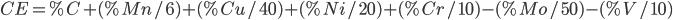 CE = % C + (% Mn/6) + (% Cu/40) + (% Ni/20) + (% Cr/10) - (% Mo/50) – (% V/10)