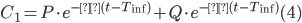C_1 = P \cdot e^{-α(t - T_{\rm inf})} + Q \cdot e^{-β(t - T_{\rm inf})}~~~~~~(4)