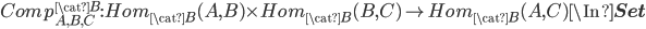 Comp^{\cat{B}}_{A, B, C}: Hom_{\cat{B}}(A, B)\times Hom_{\cat{B}}(B, C) \to Hom_{\cat{B}}(A, C) \In {\bf Set}