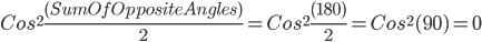 Cos^{2}\frac{(SumOfOppositeAngles)}{2}=Cos^{2}\frac{(180)}{2}=Cos^{2}(90)=0