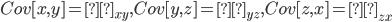 Cov[x,y]=σ_{xy}, Cov[y,z]=σ_{yz},Cov[z,x]=σ_{zx}