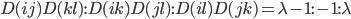 D(ij)D(kl):D(ik)D(jl): D(il)D(jk)=\lambda -1 : -1 : \lambda