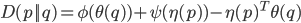 D(p||q) = \phi(\theta(q)) + \psi(\eta(p)) - \eta(p)^T \theta(q)