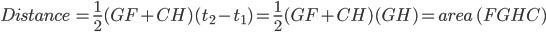 Distance\, =\frac{1}{2}(GF+CH)(t_2-t_1) =\frac{1}{2}(GF+CH)(GH)=area\, (FGHC)