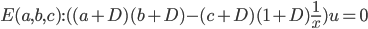 E(a,b,c) : ((a+D)(b+D)-(c+D)(1+D)\frac{1}{x})u = 0