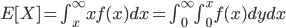 E[X] = \int^\infty_{x}xf(x)dx=\int^\infty_{0}\int^x_{0}f(x)dydx\\