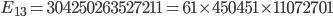 E_{13}=304250263527211=61\times 450451\times 11072701