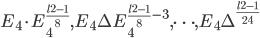 E_4\cdot E_4^{\frac{l^2-1}{8}}, E_4\Delta E_4^{\frac{l^2-1}{8}-3}, \dots, E_4\Delta^{\frac{l^2-1}{24}}