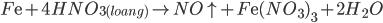 F{\rm{e}} + 4HN{O_{3(loang)}} \to NO \uparrow + F{\rm{e}}{(N{O_3})_3} + 2{H_2}O