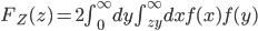 F_Z(z)=2\int_0^\infty dy\int_{zy}^\infty dxf(x)f(y)