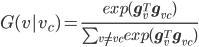 G(v|v_c) = \frac{exp(\bf{g}_{v}^{T} \bf{g}_{v_c})}{\sum_{v \neq v_c} exp(\bf{g}_{v}^{T} \bf{g}_{v_c})}