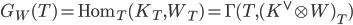 G_W(T) = \mathrm{Hom}_T(K_T,W_T) = \Gamma (T,(K^{\vee}\otimes W)_T)