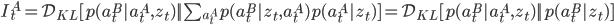 I_t^A =\mathcal{D}_{KL} [ p(a_t^B | a_t^A,z_t) || \sum_{a_t^A} p(a_t^B | z_t,a_t^A) p(a_t^A | z_t) ] = \mathcal{D}_{KL} [p(a_t^B | a_t^A,z_t) || p(a_t^B | z_t) ]