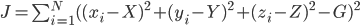J=\sum_{i=1}^{N}((x_i-X)^2+(y_i-Y)^2+(z_i-Z)^2-G)^2