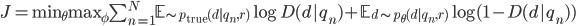 J=\textrm{min}_{\theta} \textrm{max}_{\phi} \sum_{n=1}^N \mathbb{E}_{\sim p_{\textrm{true}}(d|q_n, r)} \log D(d|q_n) + \mathbb{E}_{d \sim p_{\theta}(d|q_n, r)} \log (1 - D(d|q_n))