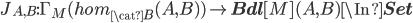 J_{A, B}:\Gamma_M(hom_{\cat{B}}(A, B) ) \to {\bf Bdl}[M](A, B) \In {\bf Set}